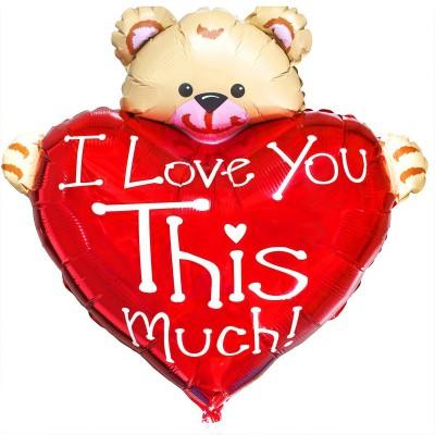 """Фольгированный шар """" сердце с Медвежонком Love You классик """"XXL размер"""