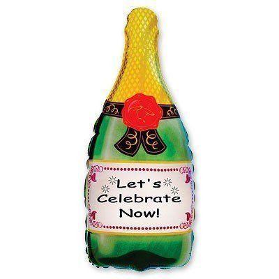 """Фольгированный шар фигура """" Бутылка Шампанского - Давайте Праздновать Сейчас """""""