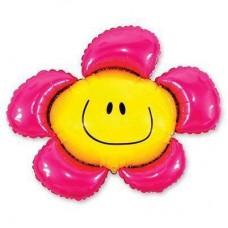 """Фольгированный шар фигура """" цветок Смайл розовые лепестки """""""