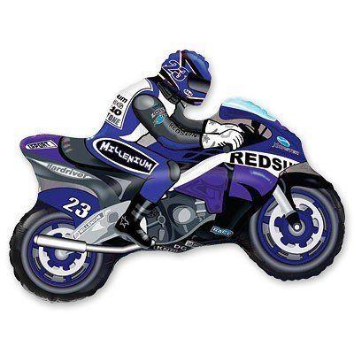"""Фольгированный шар фигура """" синий Мотоциклист """""""