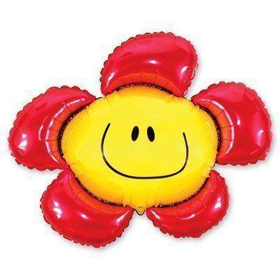 """Фольгированный шар фигура """" цветок Смайл красные лепестки """""""