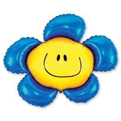 """Фольгированный шар фигура """" цветок Смайл синие лепестки """""""