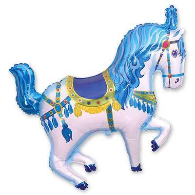 """Фольгированный шар фигура """" Лошадь Цирковая синяя """""""