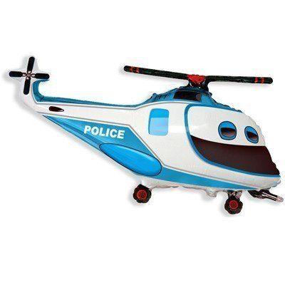 """Фольгированный шар фигура """" Вертолет синий с глазами полиция """""""