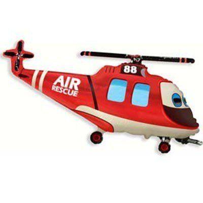 """Фольгированный шар фигура """" Вертолет Красный с глазами """""""