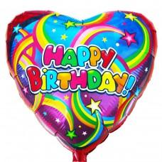 """Фольгированный шар """" сердце радуга Happy Birthday """""""