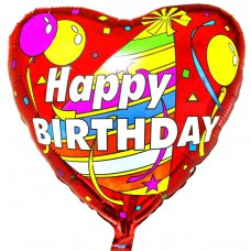 "Фольгированный шар "" сердце серпантин Happy Birthday """