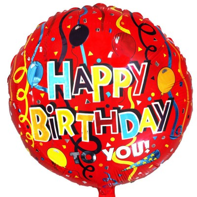 "Фольгированный шар "" круг крапсный Happy Birthday """
