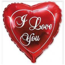 """Фольгированный шар """" сердце красное I Love You классик """""""