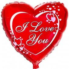 """Фольгированный шар """" сердце классика в сердцах I Love You """""""