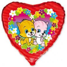 """Фольгированный шар """" сердце малиновое котята """""""