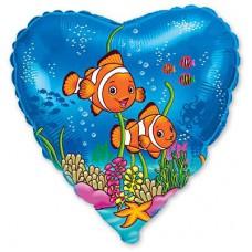 """Фольгированный шар """" сердце подводный мир рыбки Немо """""""