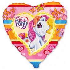 """Фольгированный шар """" сердце розовое Литл Пони  """""""