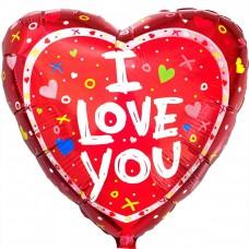 """Фольгированный шар """" сердце Х/0 I Love You """""""