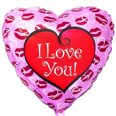 """Фольгированный шар """" сердце розовое в поцелуи I Love You """""""