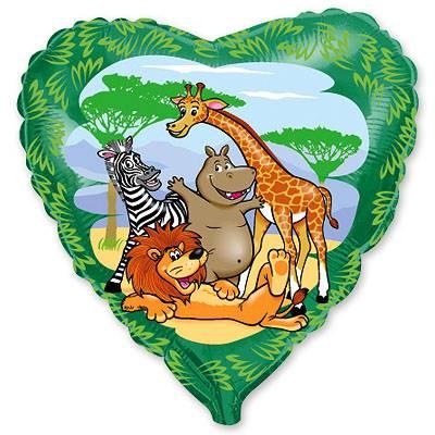 """Фольгированный шар """" сердце зеленое Мадагаскар """""""