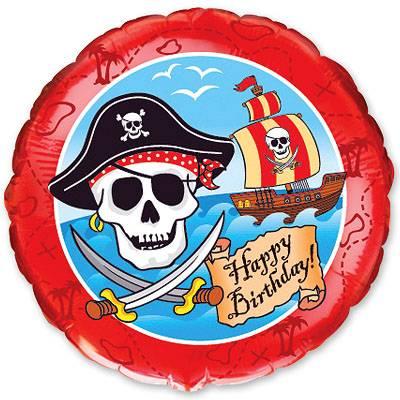 """Фольгированный шар """" круг пираты Happy Birthday """""""