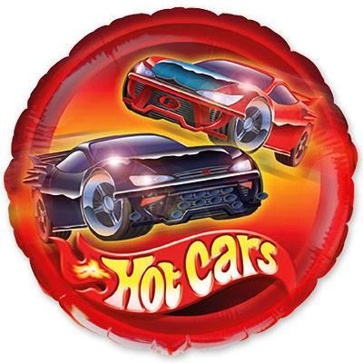"""Фольгированный шар """" круг красный Hot Cars"""""""
