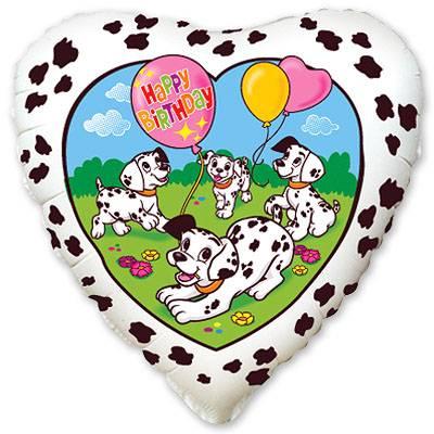"""Фольгированный шар """" сердце белое далматинцы Happy Birthday """""""