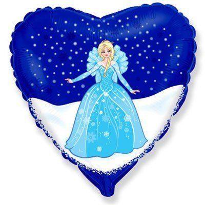 """Фольгированный шар """" сердце синее Холодное Сердце Эльза  """""""