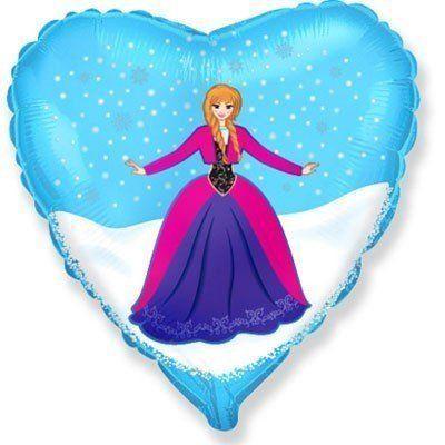 """Фольгированный шар """" сердце Холодное Сердце Анна  """""""
