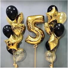 """Композиция из Шаров """"5"""" - 1 шт Цифра метр, 12 шт Латекс Черн/золото, 2 шт шар конфети, 6 шт фольг.звезды/сердца"""