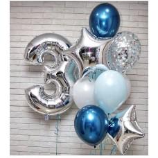 """Композиция из Шаров """"2"""" - 1шт Шар Цифра 1 метр, Латекс 4шт белый/голубой, Латекс Хром 2шт, Латекс Конфети 2шт, Фольгиров.Звезды 2шт"""