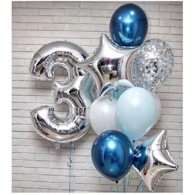 """Набор Шаров """"2"""" - 1шт Шар Цифра 1 метр, Латекс 4шт белый/голубой, Латекс Хром 2шт, Латекс Конфети 2шт, Фольгиров.Звезды 2шт"""